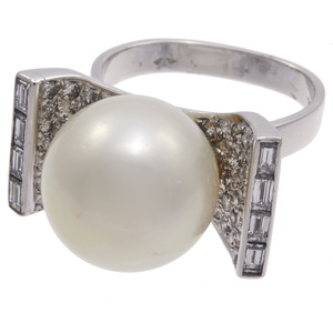 South Sea Cultured Pearl, Diamond, 18k White Gold Ring