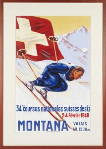 Montana Valais, Vintage Skiing Poster