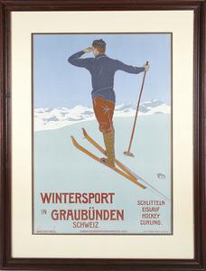Wintersport in Graubünden, Vintage Travel Poster