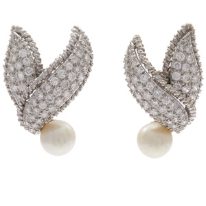 Pair of Diamond, Cultured Pearl, Platinum, 18k Earrings