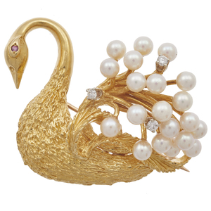 Diamond, Cultured Pearl, 18k Swan Pin