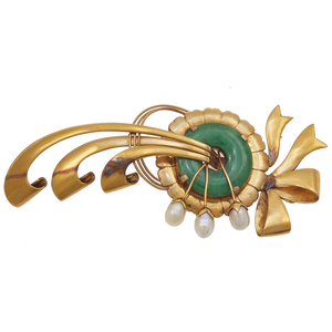 Jade, Fresh Water Pearl, 14k Yellow Gold Brooch