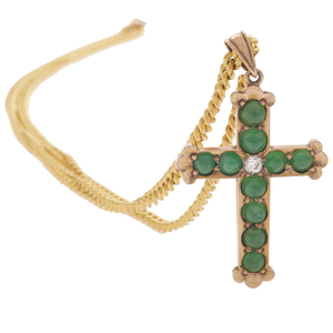 Jade, Diamond Gold Cross Necklace