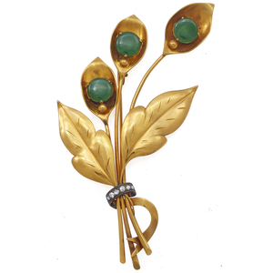 Jade, Diamond, 14k Yellow Gold Spray Pin