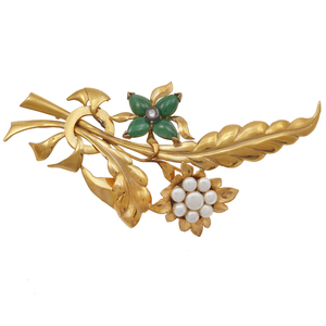Jade, Diamond, Cultured Pearl, 14k Yellow Gold Spray Pin