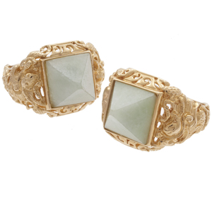 Pair of Sanuk Jade, 14k Yellow Gold Rings