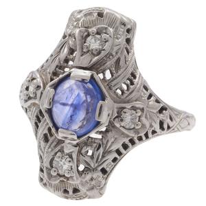 Art Deco Diamond, Sapphire, 18k White Gold Ring