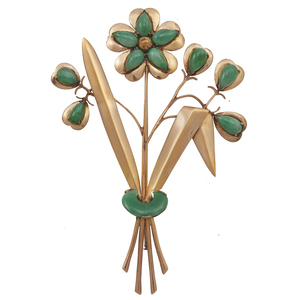 Jade, 14k Bouquet Brooch