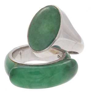 Collection of Two Gent's Jade, White Gold Rings