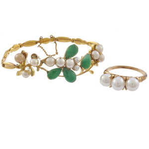 Collection of Jade, Cultured Pearl, Gold Jewelry Items