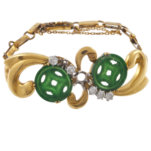 Diamond, Jade, Yellow Gold Bracelet