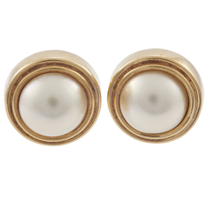 Pair of Mabe Cultured Pearl, 14k Earrings