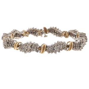 Diamond, 10k White and Yellow Gold Bracelet