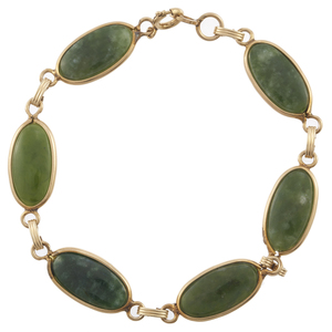 Nephrite, 14k Yellow Gold, Gold-Filled Bracelet