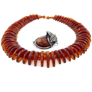 Amber, Sterling Silver Necklace and Brooch