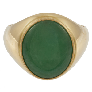 Gent's Jade, 18k Yellow Gold Ring