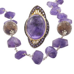 Collection of Amethyst, Smokey Quartz, Sterling Jewelry Items