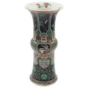 Famille Noir Trumpet Vase, 19th Century