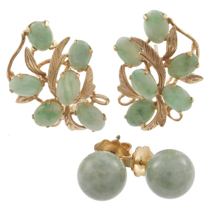 Two Pairs of Jade, 14k, Gold-Filled Earrings