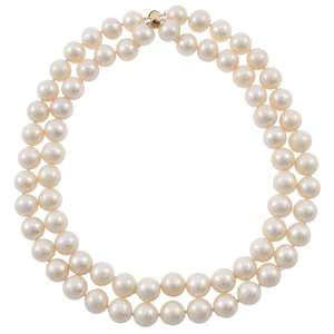 South Sea Cultured Pearl, 14k Double Strand Necklace