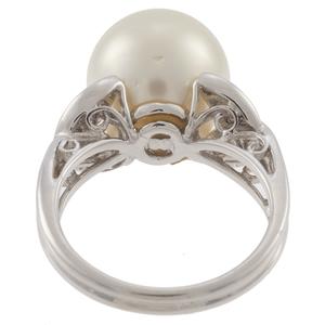 South Sea Pearl, Diamond, 18k White Gold Ring
