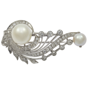 Diamond, Cultured Pearl, 14k White Gold Fur Clip