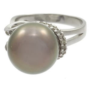 Tahitian Cultured Pearl, Diamond, 14k White Gold Ring