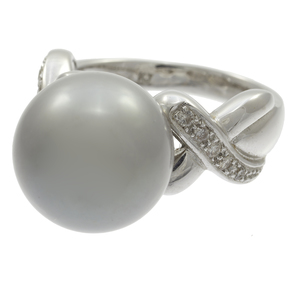 Tahitian Cultured Pearl, Diamond, 18k White Gold Ring