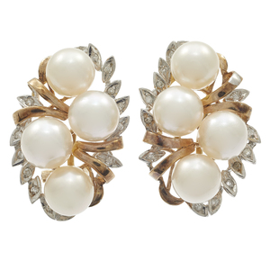 Pair of Diamond, Cultured Pearl, 14k  Ear Clips