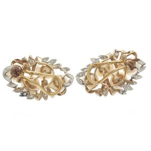 Pair of Diamond, Cultured Pearl, 14k  Ear Clips