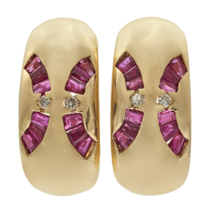Pair of Diamond, Ruby, 14k Yellow Gold Ear Clips