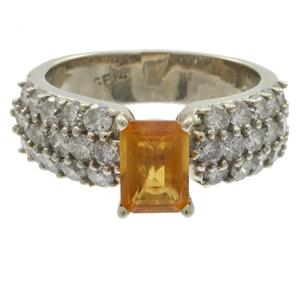 Diamond, Citrine, 14k White Gold Ring