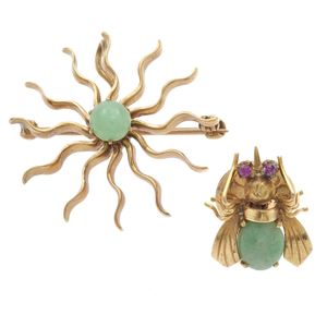 Collection of Two Jade, 14k Yellow Gold Pins