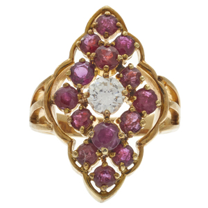 Diamond, Ruby, 14k Yellow Gold Ring