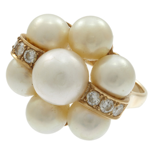 Diamond, Cultured Pearl, 14k Yellow Gold Ring