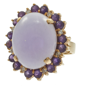 Jade, Diamond, Amethyst, 14k Yellow Gold Ring