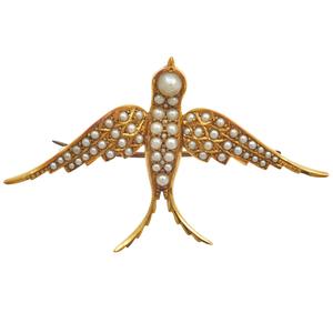 Victorian Seed Pearl, 15k Swallow Pin
