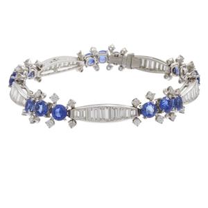 Diamond, Sapphire, Platinum Bracelet