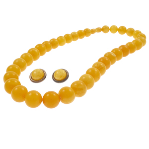Amber Necklace with Amber, Sterling Silver Ear Clips