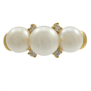 Diamond, Cultured Pearl, 18k Enhancer Clasp