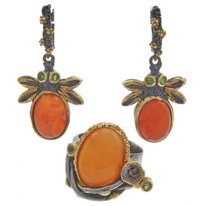 Pair of Carnelian, Blackened Silver Earrings and Ring