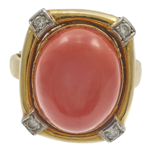 Coral, Diamond, 18k Yellow Gold Ring