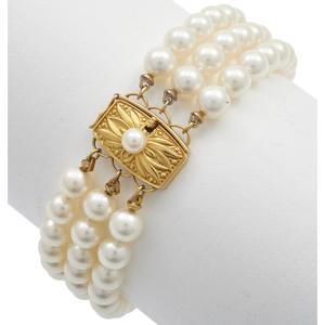 Mikimoto Cultured Pearl, 18k Bracelet