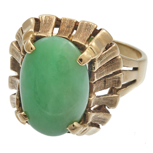 Jadeite, 14k Yellow Gold Ring