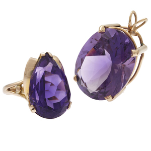 Amethyst, 14k Yellow Gold Ring and Pendant