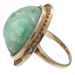 Carved Jade, 10k Rose and Yellow Gold Ring