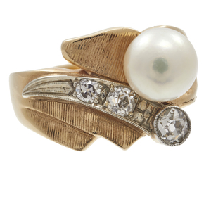 Cultured Pearl, Diamond, 14k Yellow Gold Ring