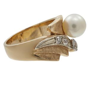 Cultured Pearl, Diamond, 14k Yellow Gold Ring