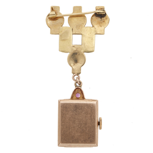 Orvin Retro 14k Rose and Yellow Gold Lapel Watch