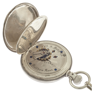 U.S. Watch Co. Sterling Silver Pocket Watch with Fob